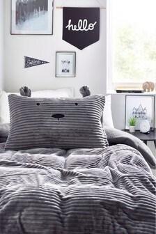 Teddy Bear Fleece Cord Duvet Cover and Pillowcase Set