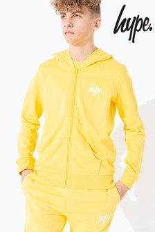 Hype. Yellow Mini Script Kids Zip Through Hoody
