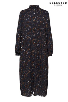 Selected Femme Navy Floral Print Pleated Midi Josie Dress