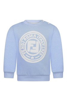 Baby Boys Blue Cotton Logo Sweater