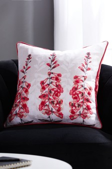 Foxglove Beaded Floral Cushion
