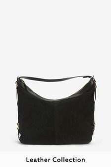 Black Leather Suede Shoulder Bag