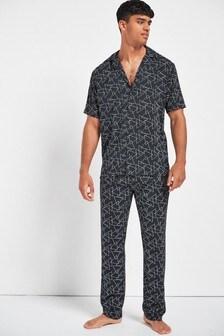 Black Geo Pyjama Set