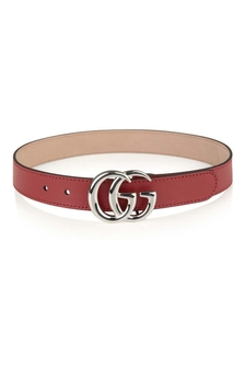 Red Leather GG Buckle Belt