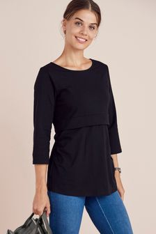 Black Maternity Organic Cotton Blend Nursing Layer Top