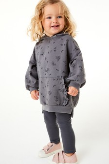 Charcoal Floral Hoodie And Legging Set (3mths-7yrs)