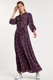 Purple Paisley Belted Maxi Shirt Dress