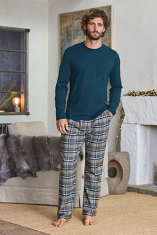 Teal/Grey Check Woven Pyjama Set