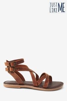Brown Leather Gladiator Sandals (Older)