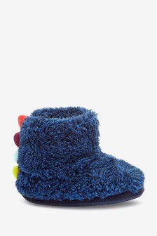 Navy Spike Warm Lined Slipper Boots