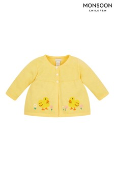 Monsoon Yellow Newborn Embroidered Chick Cardigan
