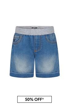 Moschino Kids Baby Boys Blue Cotton Shorts