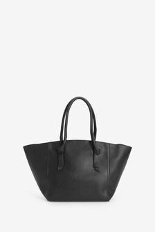 Black Knot Handle Detail Shopper Bag