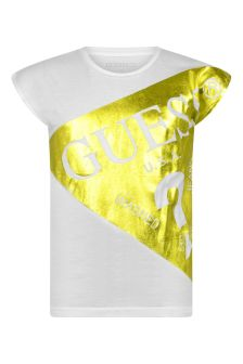 Girls White & Lime Viscose Logo T-Shirt