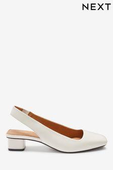 Bone Regular/Wide Fit Leather Slingback Block Heel Shoes