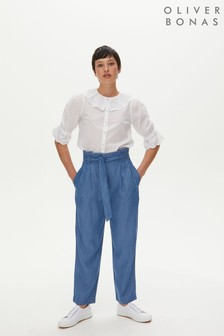 Oliver Bonas Blue Denim Chambray Trousers