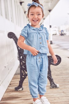 Light Blue Denim 2 Piece Top And Trousers Set (3mths-7yrs)