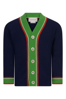 Baby Boys Navy Woollen Knitted Cardigan