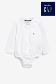 Gap Baby White Shirt With Embroidered Bear Logo