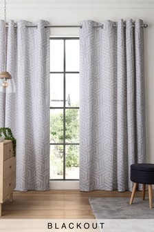 Set Of 2 Grey Geo Eyelet Curtains