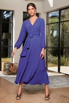 Cobalt Plunge Maxi Dress