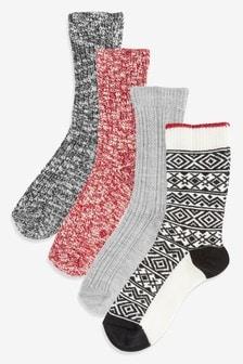 Monochrome Boot Socks 4 Pack