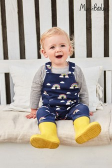 Boden Blue Cosy Printed Dungaree Set