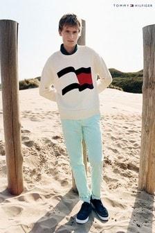 Tommy Hilfiger White Big Graphic Sweater