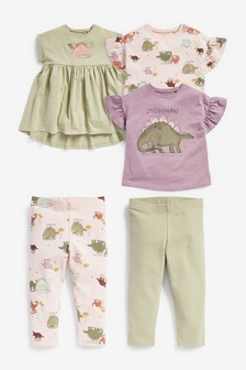 Purple Dino Dress, T-Shirt And Leggings Five Piece Set (3mths-7yrs)