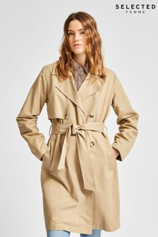 Selected Femme Sustainable Beige Weka Trench Coat