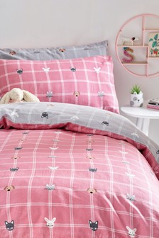 Brushed Cotton Animals Checked Reversible Duvet Cover and Pillowcase Set