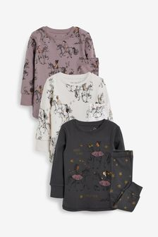 Grey/Lilac Horse 3 Pack Pyjamas (9mths-12yrs)