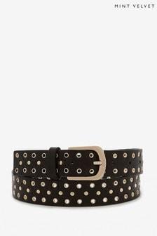 Mint Velvet Black Leather Studded Belt