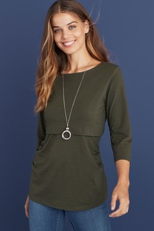 Khaki Maternity Organic Cotton Blend Nursing Layer Top