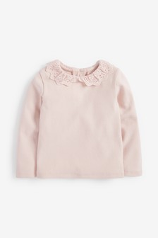 Pale Pink Brushed Broderie Collar Top (3mths-7yrs)