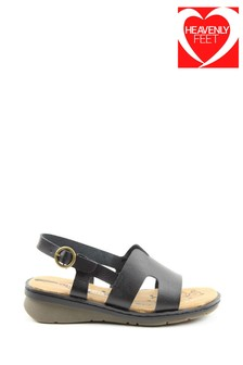 Heavenly Feet Jasper Ladies Black Sandals