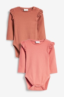 Brown 2 Pack Frill Sleeve Bodysuits (0mths-3yrs)