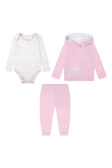 Baby Girls Pink Cotton Three Piece Tracksuit Set