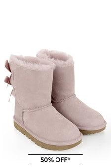 Girls Pink Sheepskin Bailey Bow Boots