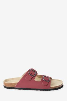 Red Two Band Footbed Mules