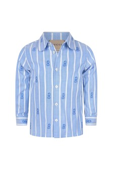 GUCCI Kids Baby Boys Blue Cotton Shirt