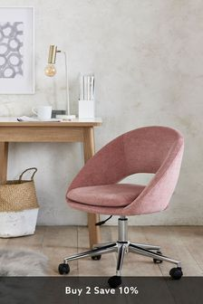 Fine Chenille Blush Hewitt Office Chair With Chrome Base