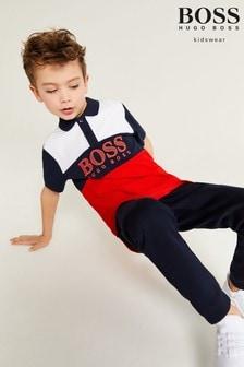 BOSS Navy And Red Colourblock Logo Polo Shirt