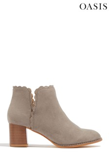 Oasis Grey Scallop Detail Ankle Boots