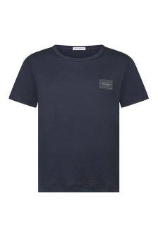 Boys Navy Cotton Jersey T-Shirt