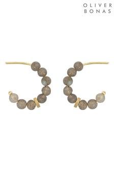 Oliver Bonas Dottie Mini Stone Gold Plated Hoop Earrings