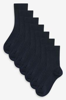 Navy 7 Pack Ribbed Cotton Rich Socks (Older)