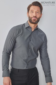 Grey Slim Fit Single Cuff Signature Trimmed Shirt