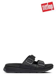 FitFlop™ Black Arlo Adjustable Leather Sliders