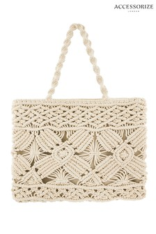 Accessorize Cream Macramé Shopper